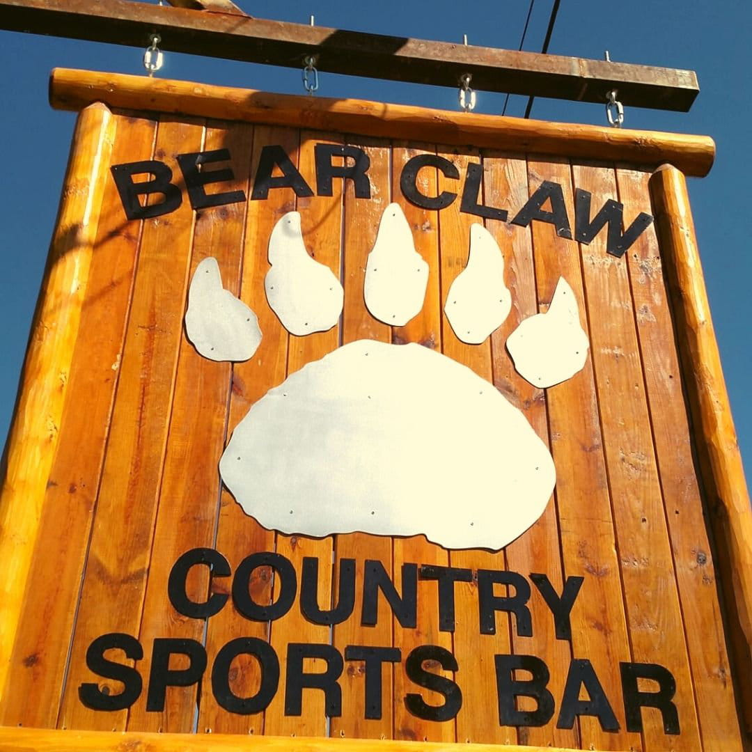 sign outside of Bear Claw Country Sports Bar