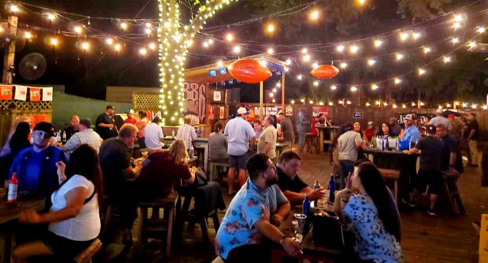 party outside at night at Wild Hawgs saloon