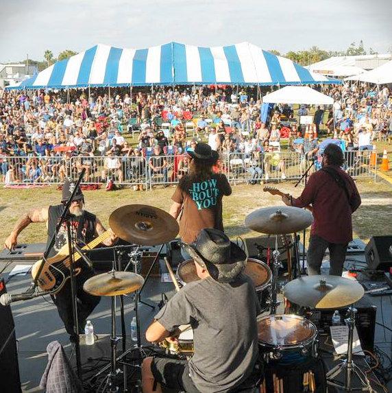 Band rocking a biker event