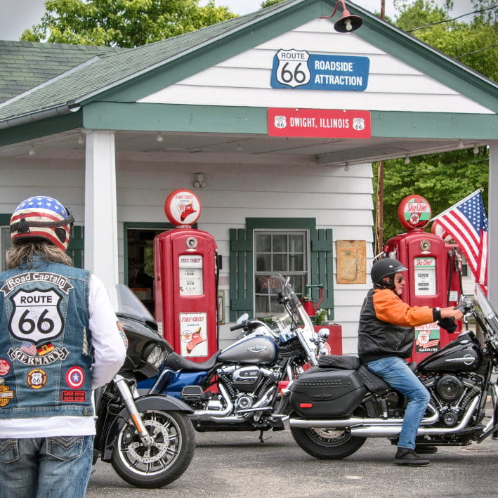 Bikers getting gas on Route 66