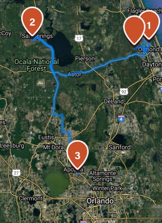 Daytona to Apopka map