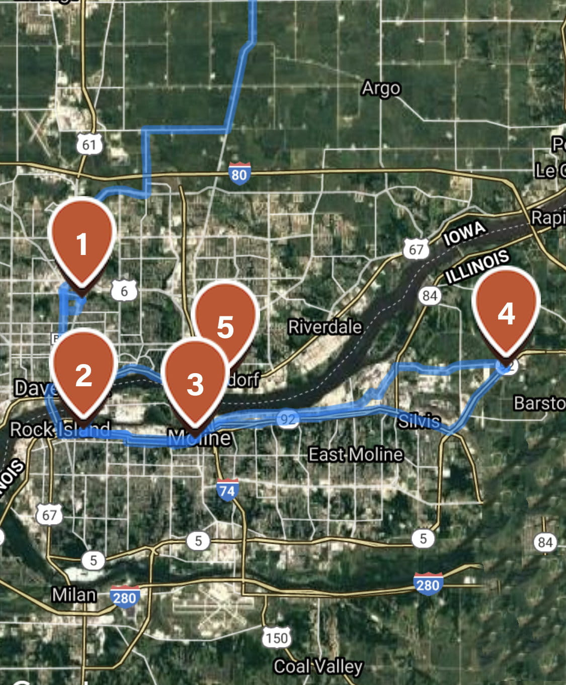 Quad City ride map